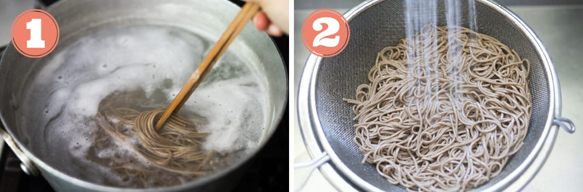 Boiled buckwheat noodles and drained noodles in colander.