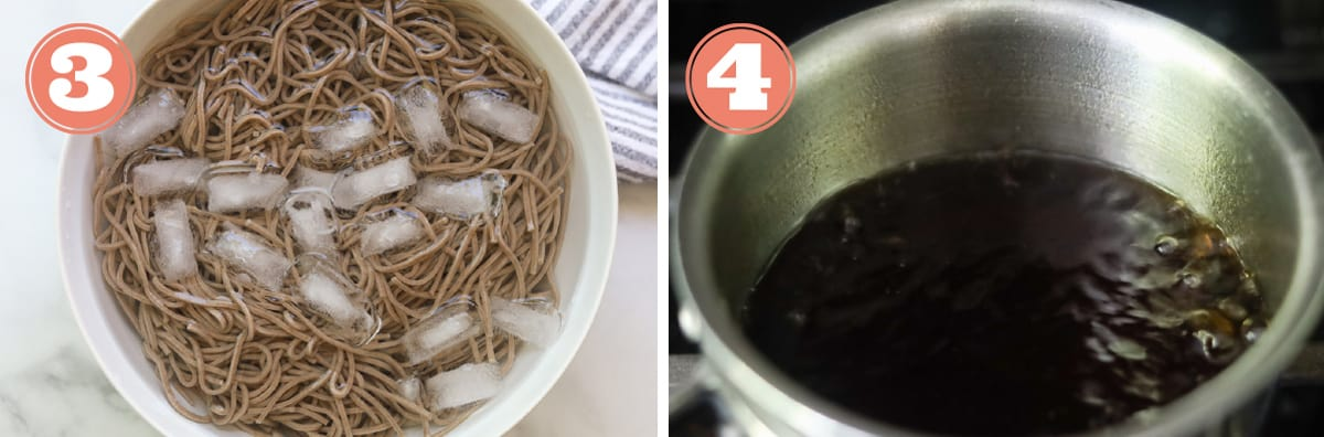 Noodles in ice bowl and sauce in pan.