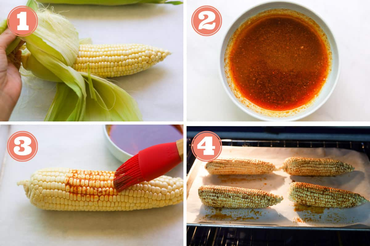 How to image of how to make oven baked corn on the cob.