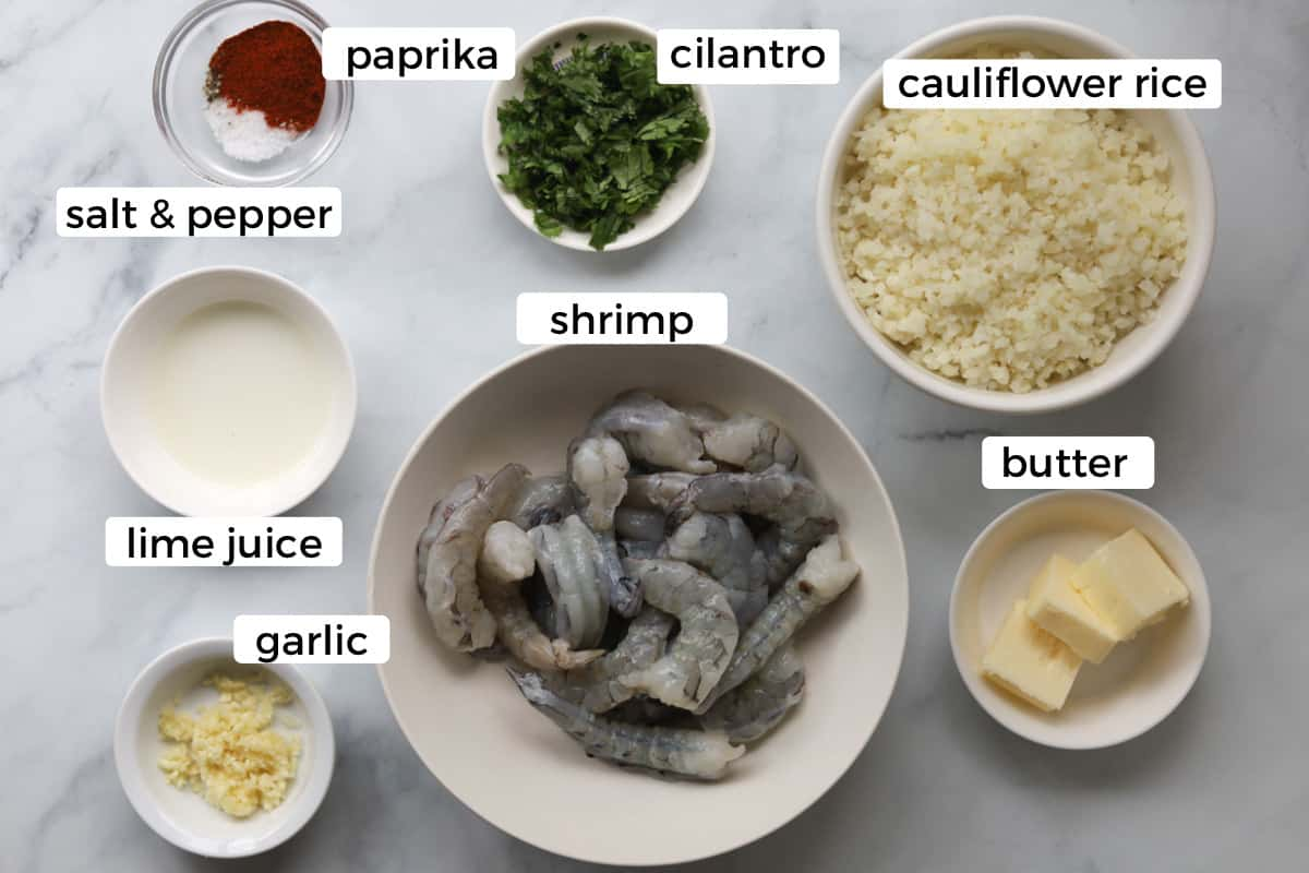 Ingredients for cauliflower rice and shrimp.