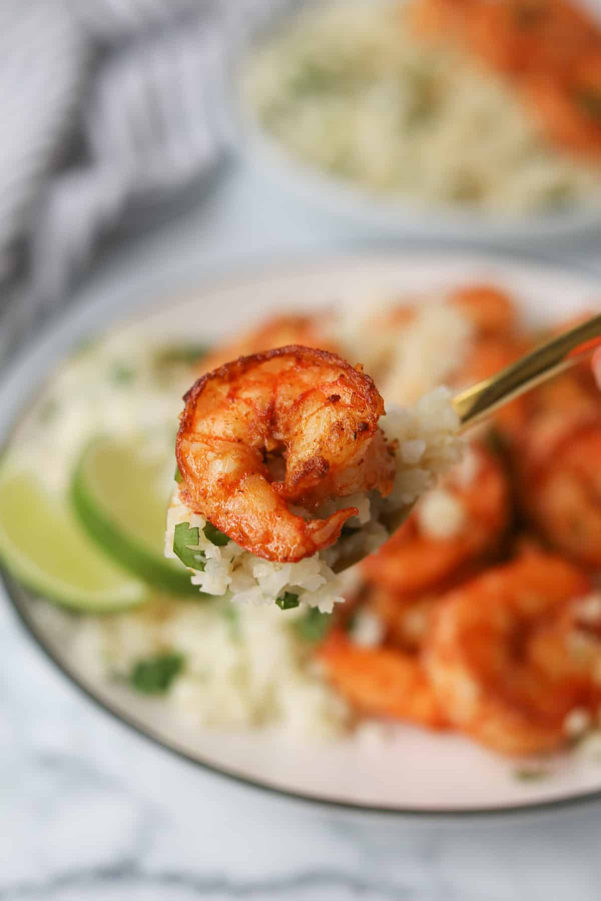 Closeup image of shrimp and cauliflower rice on a spoon.