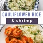 Shrimp with cauliflower rice on a plate.