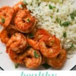 Closeup of shrimp and cauliflower rice.