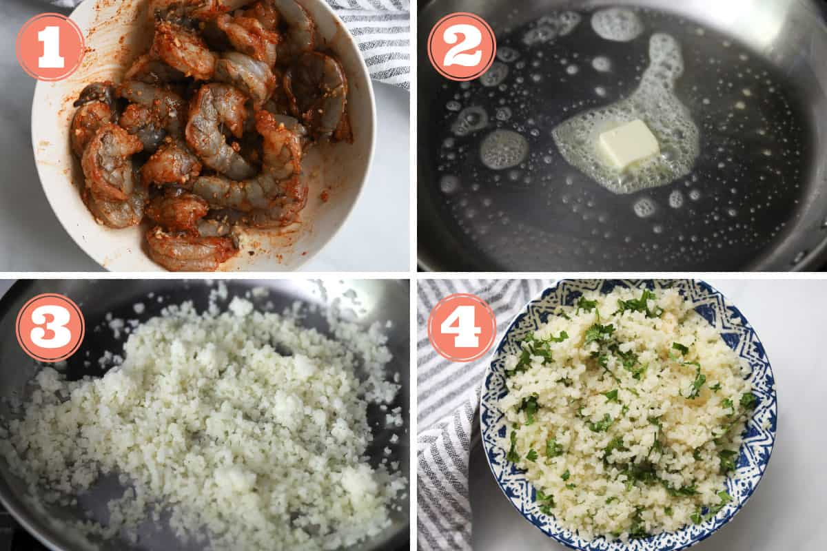Steps on how to cook frozen cauliflower rice on the stovetop.