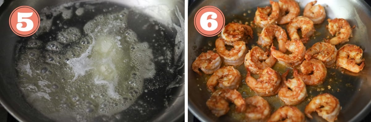 Steps on how to saute shrimp in a pan.