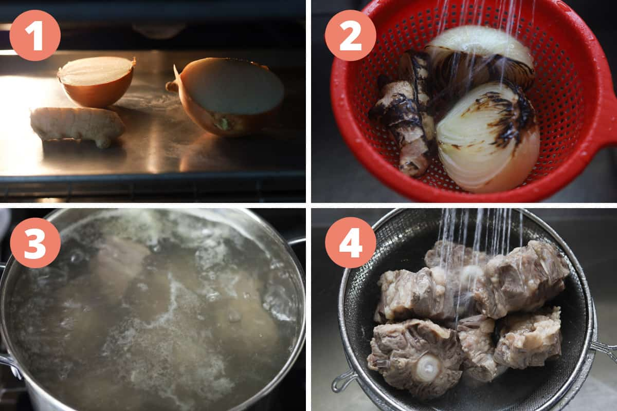 Steps on how to make Instant Pot oxtail pho.