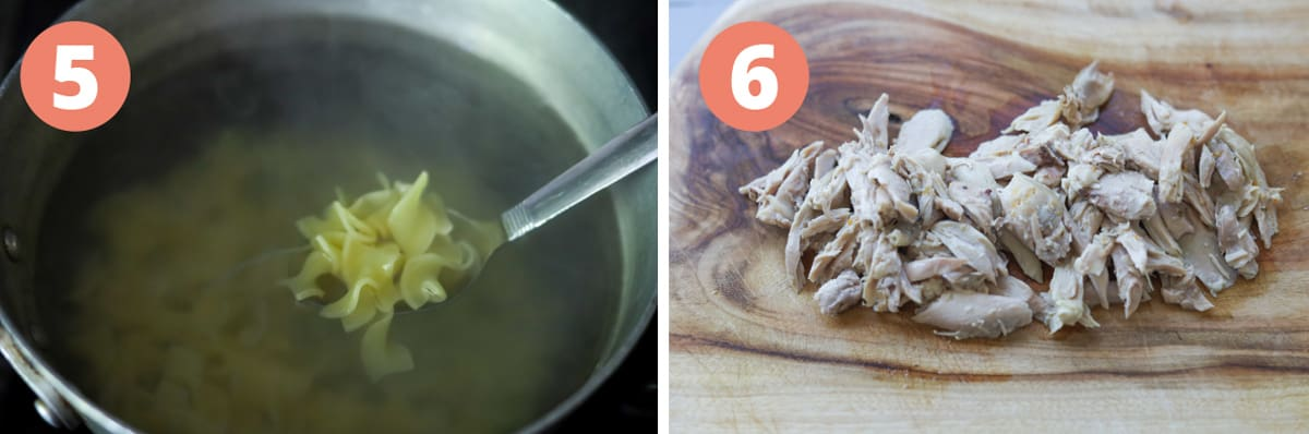 Images on how to make instant pot chicken noodle soup.