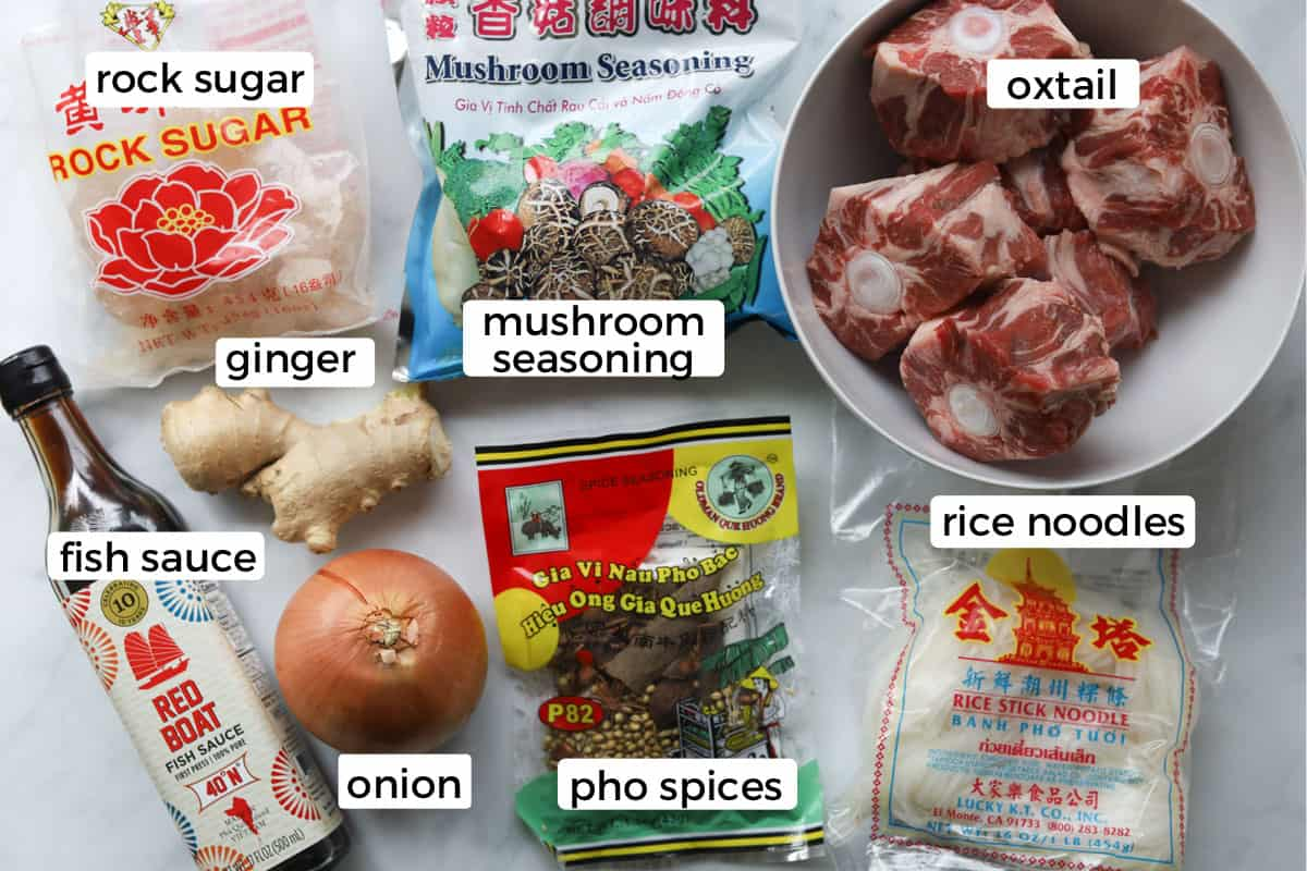 Ingredients for how to make Instant Pot oxtail pho.
