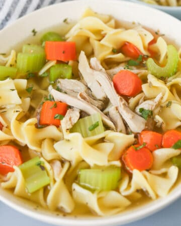 Bowl of chicken egg noodle soup with carrots and celery.