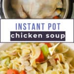 Images of chicken noodle soup with celery and carrots.