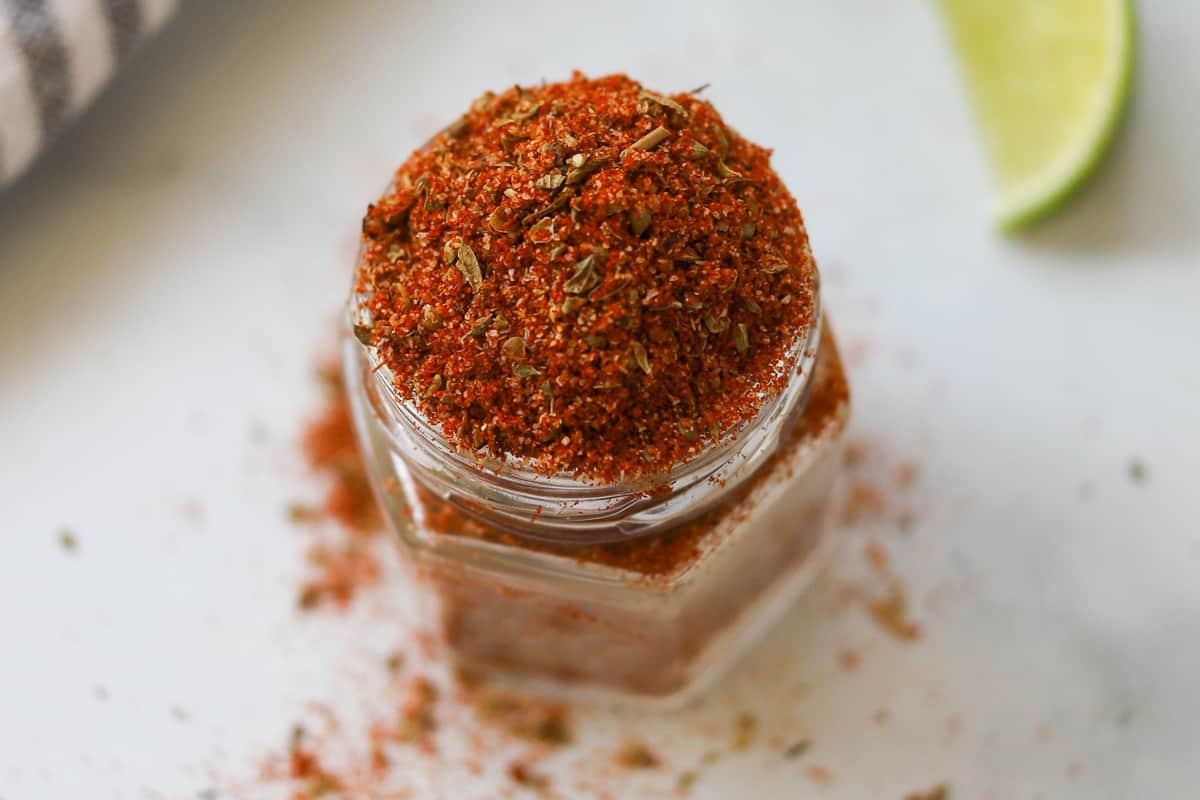 Seasoning mix in a small jar.