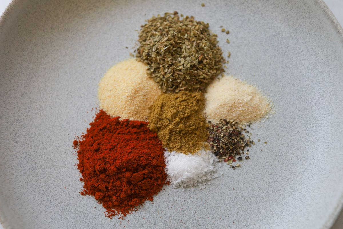 Variety of seasoning on a plate.