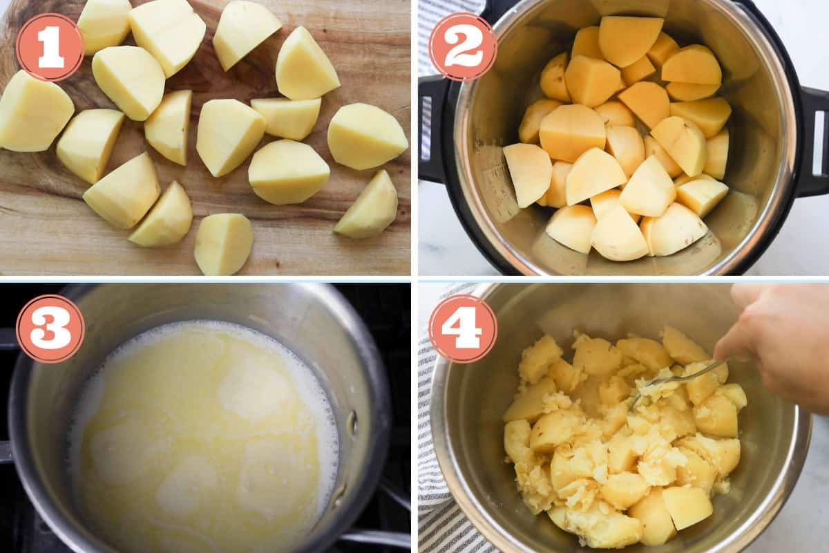 Steps to make instant pot mashed potatoes.